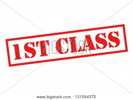 1ST CLASS red Rubber Stamp over a white background.