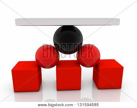 Cubes,balls and seesaw assembled in pyramid . 3D illustration .