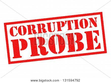 CORRUPTION PROBE red Rubber Stamp over a white background.