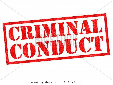 CRIMINAL CONDUCT red Rubber Stamp over a white background.