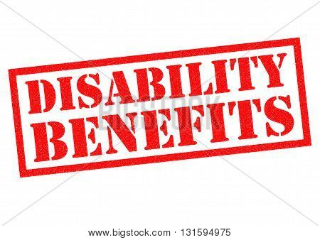 DISABILITY BENEFITS red Rubber Stamp over a white background.