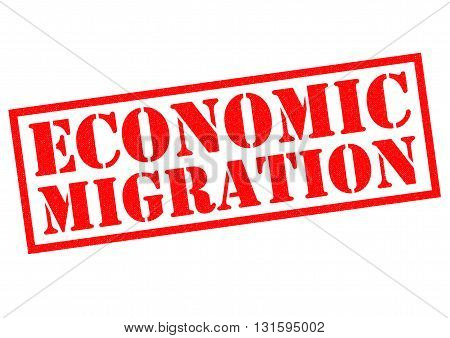 ECONOMIC MIGRATION red Rubber Stamp over a white background.
