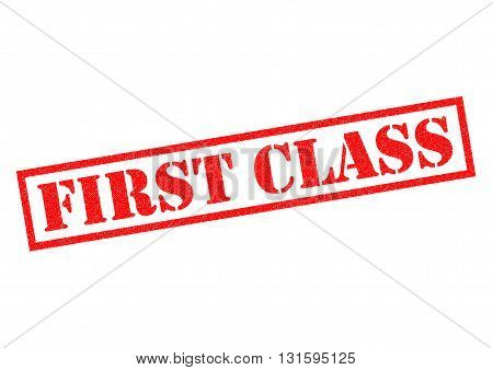 FIRST CLASS red Rubber Stamp over a white background.