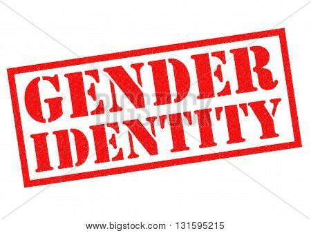 GENDER IDENTITY red Rubber Stamp over a white background.