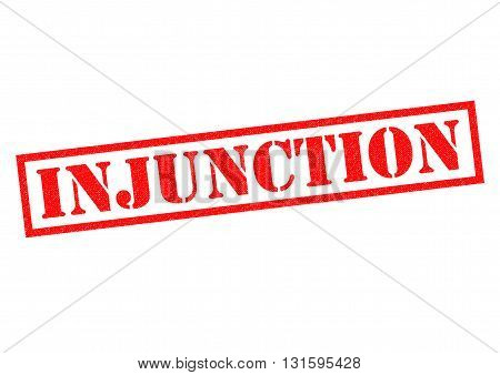 INJUNCTION red Rubber Stamp over a white background.