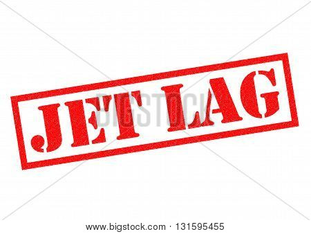 JET LAG red rubber Stamp over a white background.
