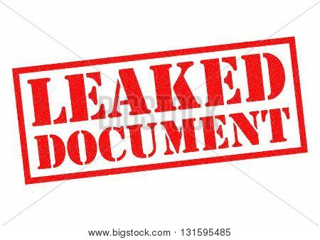 LEAKED DOCUMENT red Rubber Stamp over a white background.