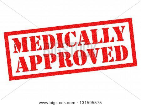 MEDICALLY APPROVED red Rubber Stamp over a white background.