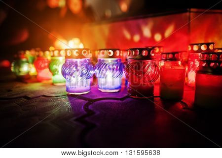 Funeral candle lamps at night different lights