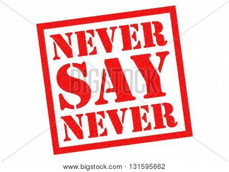 NEVER SAY NEVER red Rubber Stamp over a white background.