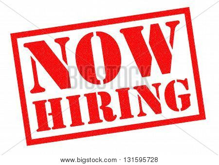 HOW HIRING red Rubber Stamp over a white background.