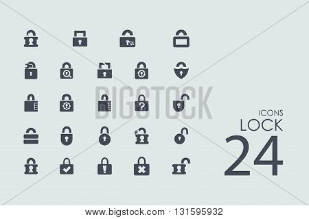 lock vector set of modern simple icons