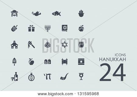 Hanukkah vector set of modern simple icons