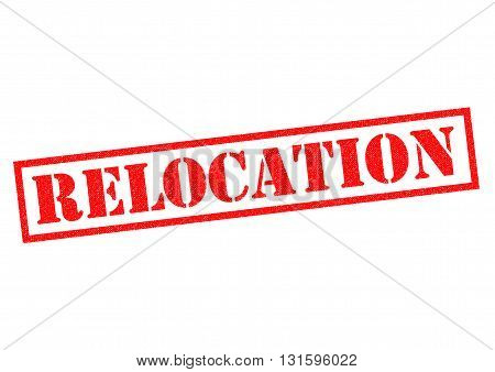RELOCATION red Rubber Stamp over a white background.