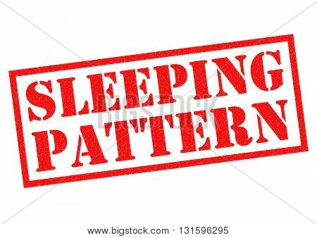 SLEEPING PATTERN red Rubber Stamp over a white background.