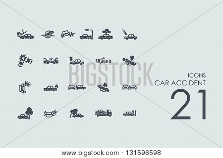 car accident vector set of modern simple icons