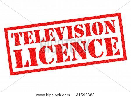 TELEVISION LICENCE red Rubber Stamp over a white background.
