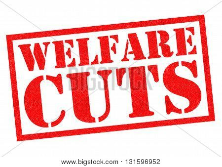 WELFARE CUTS red Rubber Stamp over a white background.