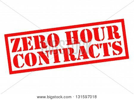 ZERO HOUR CONTRACTS red Rubber Stamp over a white background.