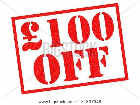 £100 OFF red Rubber Stamp over a white background.
