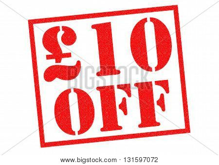 £10 OFF red Rubber Stamp over a white background.