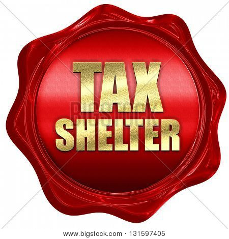 tax shelter, 3D rendering, a red wax seal