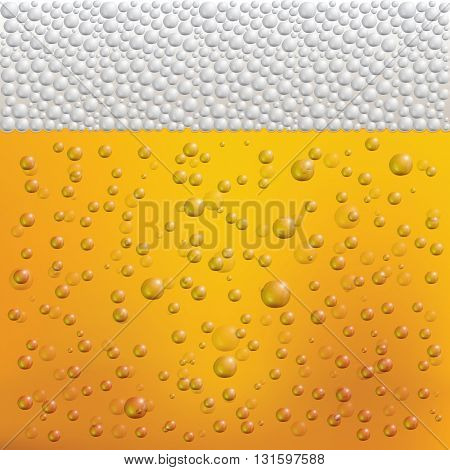 Beer Bubbles and Foam. Transparent Bubbles on Yellow Background.