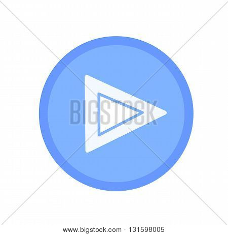 Blue play icon or button- vector illustration.