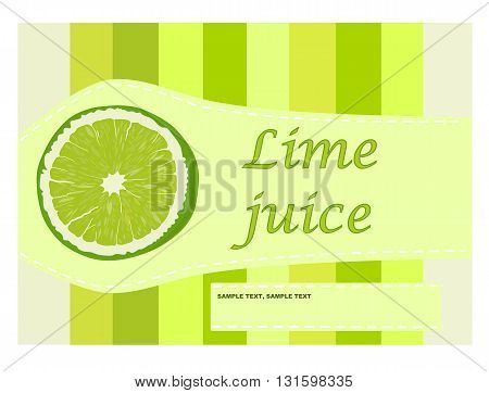 Vintage lime juice label - vector illustration.