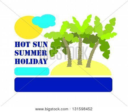 Minimalist vector illustration for summer holiday vector illustration with text for summer vacation season seasonal advertisement for social media summer holiday illustration palm island postcard