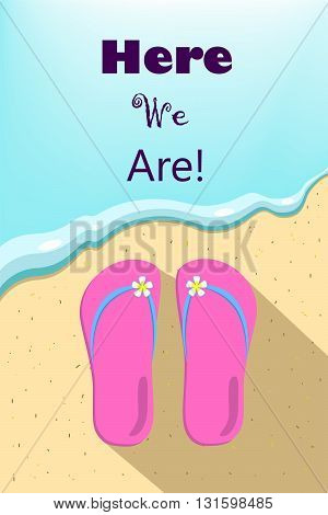 Slippers and ocean wave illustration vertical vector illustration for summer holiday summer vacation picture with place for text slippers by the sea sea wave and beach wear beach thongs and wave