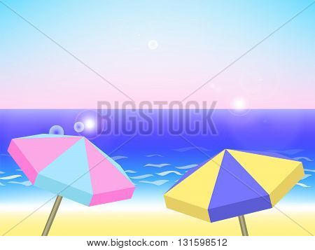 Summer holiday landscape vector background with beach umbrellas sea and sky summer vacation by the sea vector illustration with place for text seaside holiday background with colorful umbrellas