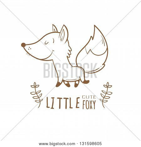 Card with cute cartoon fox. Little funny animal. Children's illustration. Vector image. Transparent background.