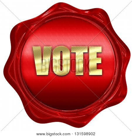 vote, 3D rendering, a red wax seal
