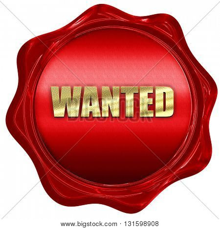 wanted, 3D rendering, a red wax seal