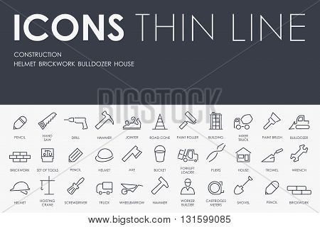 Thin Stroke Line Icons of construction on White Background