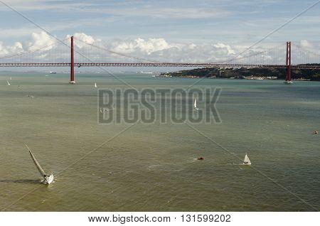Bridge over Tagus river in Lisbon, Portugal