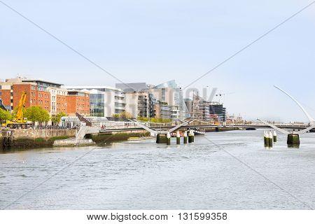 View of the Samuel Beckett Bridge in Dublin, Ireland