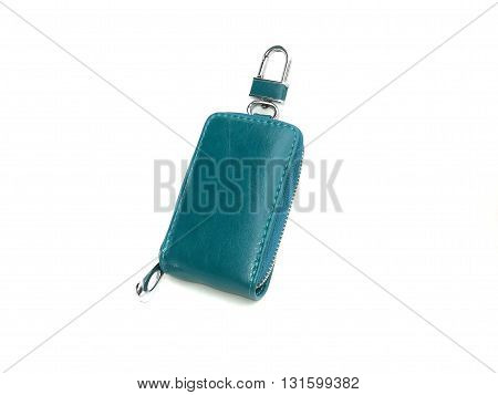 close up green key chain on isolated white