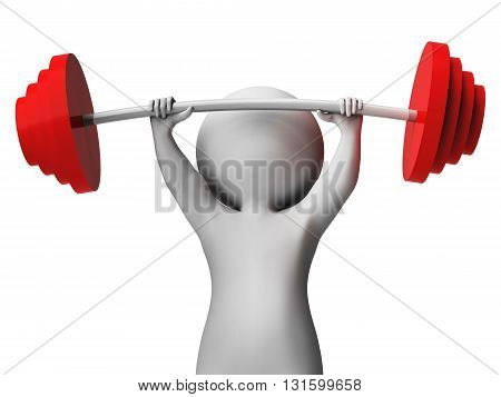 Weight Lifting Represents Workout Equipment And Athletic 3D Rendering