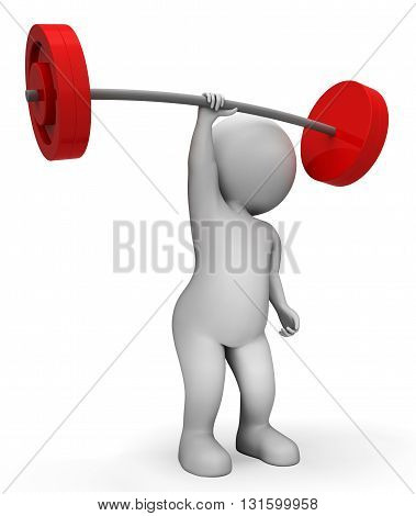Weight Lifting Means Workout Equipment And Barbell 3D Rendering