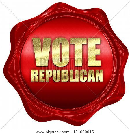 vote republican, 3D rendering, a red wax seal