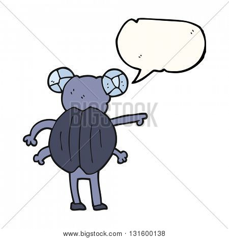 freehand drawn speech bubble cartoon pointing insect