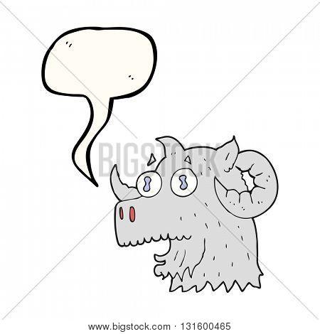 freehand drawn speech bubble cartoon ram head