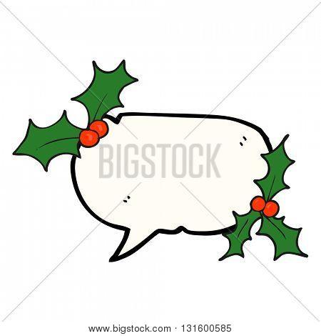 freehand drawn speech bubble cartoon christmas holly