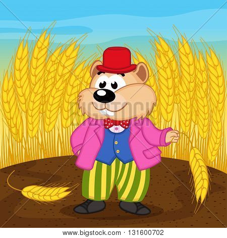 hamster near wheat field - vector illustration, eps