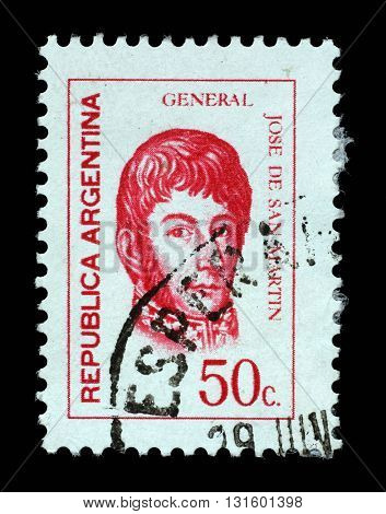 ZAGREB, CROATIA - SEPTEMBER 18: a stamp printed in the Argentina shows Jose de San Martin, General, circa 1973, on September 18, 2014, Zagreb, Croatia