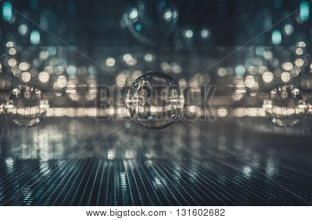 Abstract Futuristic interior glass reflect and refract background effect