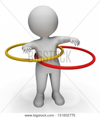 Hula Hoop Represents Physical Activity And Exercised 3D Rendering