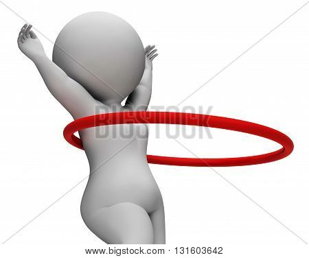 Hula Hoop Represents Getting Fit And Exercised 3D Rendering